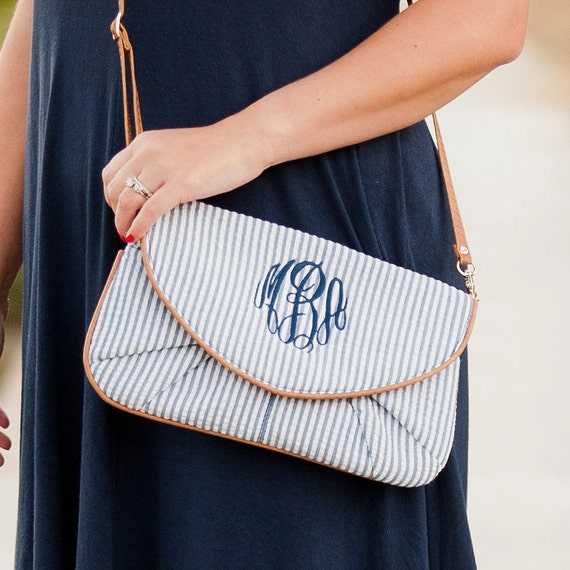 Monogrammed Purse, Seersucker Crossbody Purse, Monogrammed Clutch, Seersucker Wristlet, Bridesmaid Gifts, Weddings, Navy Seersucker Bag