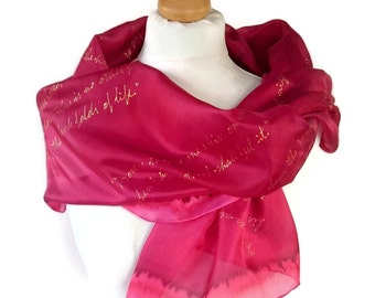 Les Miserables Book Scarf Literature  Hand Painted Silk Extra Large  Gift-Wrapped, READY to Ship Immediately
