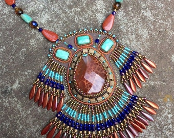 Peruvian Princess Beadwork Necklace - Native American Inspired Bead Embroidery - Gemstone Statement Necklace - Fire Agate - Green Opal