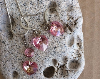 Pink Swarovski Heart Set, Swarovski Heart Necklace, Swarovski Heart Earrings,Pink Swarovski Set, Swarovski Jewelry