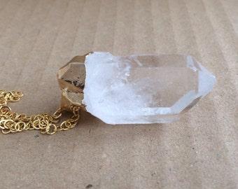 Raw Quartz Necklace, Clear Quartz Necklace, Raw Boho Necklace, Quartz Pendant