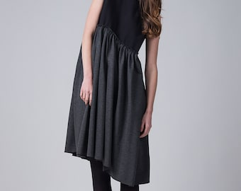 Woman's black and gray dress / Elegant everyday sleeveless dress / Knee length loose fitting dress / Fasada 1705
