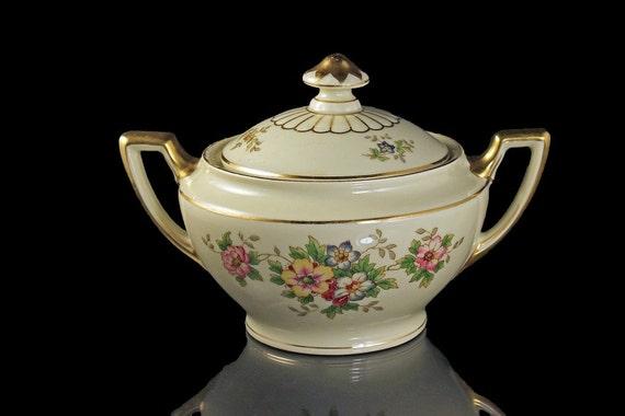 Sugar Bowl, H & Co Selb, Bavaria, Heinrich and Co., Senta Shape, Pattern #10816, Floral Pattern, Lidded, Hard to Find