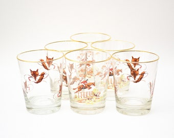 1950s Cocktail Glasses Fox Hunting Gold Rimmed Mid Century Set of Six