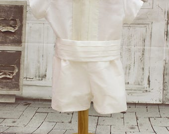 Toddler boy baptism outfit;Baby boy wedding outfit. Baby ivory baptism suit. Baby boy belt outfit. Baby boy christening outfit.Ivory organza