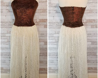 Cream lace long full sheer skirt with elastic waist - Medium