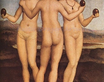 "Rafael Sanzio ""The Three Graces"" 1505  Reproduction Digital Print Roman Mythology Daughters of Zeus and Eurynome Goddesses"