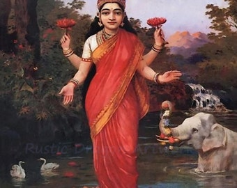 "Raja Ravi Varma ""Goddess Lakshmi"" 1906 Reproduction Digital Print Goddess of Wealth, Fortune, Prosperity Hinduism Deity Abundance Buddhist"