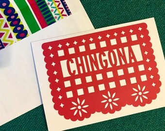 Papel Picado. Chingona Greeting Card. Blank Any Occasion Card. Handmade Greeting Card. Mother's Day Greeting Card. Chingona