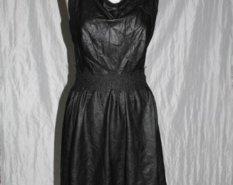 Leather dress / summer dress with waterfall neck in Gr. 38