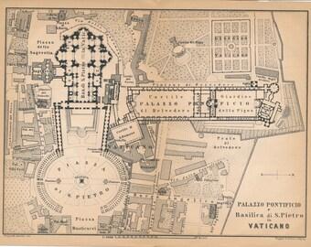 1899 Vatican Antique Map, Italy