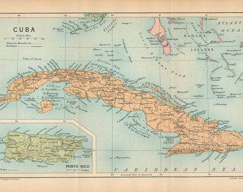 1927 Cuba Antique Map