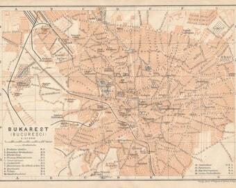 1905 Bucharest Romania Antique Map