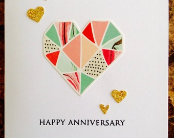 Happy Anniversary Card - Anniversary Card - Love Card - Hearts Card