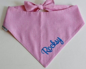 Hot Pink Personalized Seersucker Dog Bandana    Southern Classic Tie Pet Scarf    Puppy Gift by Three