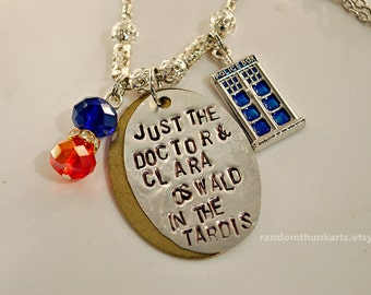 """Doctor Who Inspired 12/Clara Necklace - """"Just the Doctor & Clara Oswald in the TARDIS"""""""