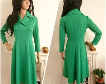 Vintage 70s Green Frilly Jersey A line Midi Dress Boho / UK 10 12 / EU 38 40 / US 6 8