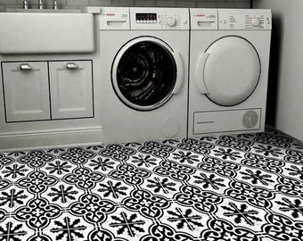Vinyl Floor Tile Sticker - Floor decals - Carreaux Ciment Encaustic Floc Tile Sticker Pack in Black & White