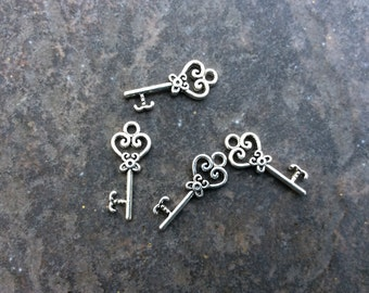 Filigree Key Charms with heart detail package of 4 charms 21mm x 9mm