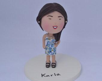 Girl smiling - Fancy dress.  Custom figurine, gift or keepsake - Center piece or cake topper. Handmade. Fully customizable.