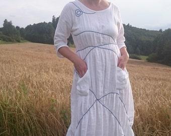 Unique Wedding Dress / Dinner Dress / Linen Clothing / Short Dress / White Linen Dress  / Linen Wedding Dress / Wedding Gown / Boho Dress