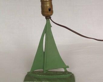 Cast Metal Sailboat Lamp