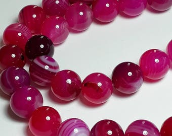 4pcs Dyed Pink Agate Beads - Grade B - Natural Agate - Gemstone Beads - Pink Gemstones - Natural Gemstone - 12mm Beads - B37501