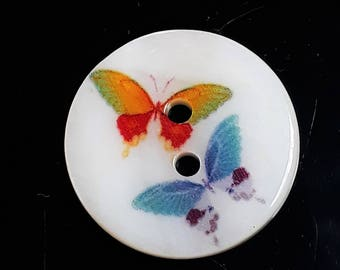 2pcs Butterfly Buttons - 20mm Buttons - Animal Buttons - Picture Buttons - Sewing Buttons - Shell Buttons - Clothing Buttons - B52264