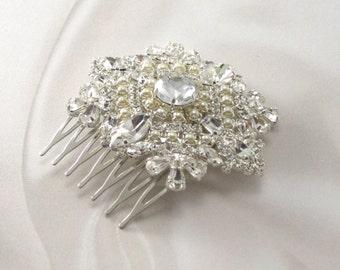 Silver Rhinestone Hair Comb, Wedding Hair Comb, Snowflake Hair Comb, Bridal Hair Comb Jeweled Hair Comb, Crystal Hair Comb, Crystal Comb