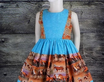 Horse Dress, Girls, Western Wear, Cowboy, Cowgirl, Rodeo, Mustang, Equestrian, Country, Pageant, School, Boutique, Sleeveless, Baby, Toddler