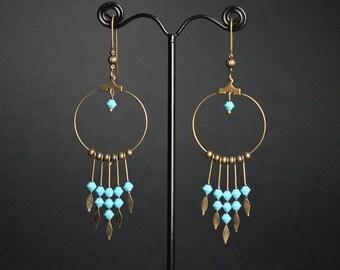 beaded hoop earrings, turquoise beads, long, brass arrow, ring, boho jewelry, hippy accessory, christmas gift