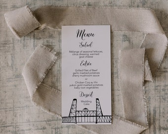 Portland Bridges Wedding Menus | Bridge Drawing Menu Card | Printed or DIY Printable Menus | Black and white design