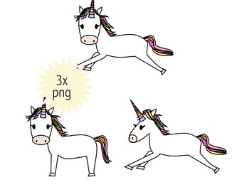 unicorn clip art - instant download - baby unicorn clipart png - commercial uses allowed - clip art for cards - pastel colored