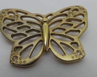 Vintage brooch - Gold tone peirced butterfly brooch