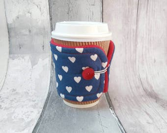 Heart Cup Cosy - Coffee Cup Sleeve - Coffee Gift - Cup Cosy