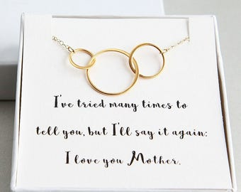 Mother Daughter necklace, Mother of 2 Daughters Necklace, Mother Daughters Gold Rings Necklace, 3 Gold Ring Necklace, Gift from daughters
