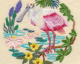 Spoonbill Scene, tea towel, hand towel or dish towel, flour sack towel, waffle weave towel.  New towel colors available.