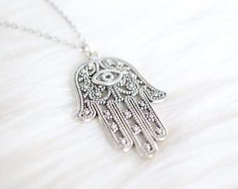 Hamsa Necklace - Hamsa Hand Necklace - Hamsa Hand - Hamsa Pendant - Silver Hamsa Necklace