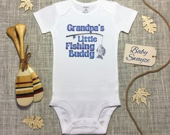 Grandpa's Little Fishing Buddy Cute Funny Outdoors Father Baby One Piece Bodysuit Toddler Kids Children's T-shirt