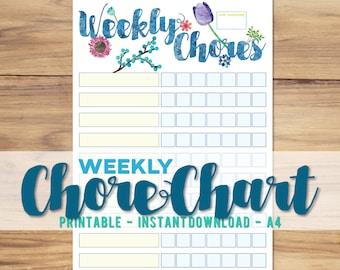 Printable A4 Weekly Chore Chart - Cute Floral Planner -  Kids Reward & Chore Chart - Children Habit Behaviour - A4 - Digital Download PDF