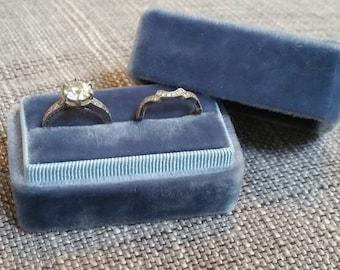 Vintage Blue - Handmade - Vintage Inspired Velvet Double Ring Box - Engagement and Wedding Ring Set Holder
