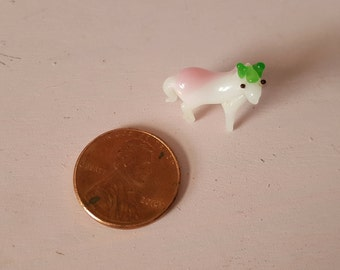 Miniature Art Glass Horse Animal Hand-Blown White Milk Glass Tiny Pony Handblown Hand Blown FS