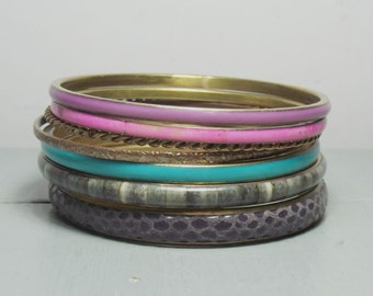 Vintage Set of Bangles/Pink and Purple Bangles/Brass Bangles/Grey Bangles/Pink Jewellery/Blue Bangle/Christmas Gift for Her/Stocking Fillers