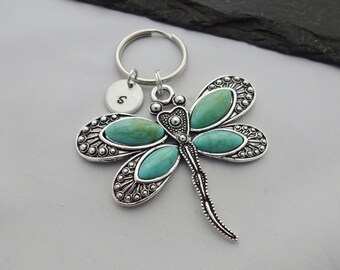 Dragonfly Keyring, Initial Dragonfly Keyring, Hand Stamped Keyring, Charm Keyring, Dragonfly Keychain, Personalised Keyring, Dragonfly Gift