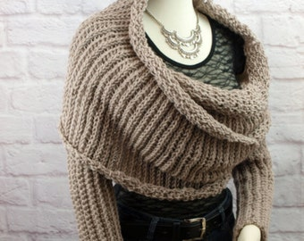 Sweater Scarf Crochet Scarf With Sleeves 2 In One Scarf Shoulder Wrap Shrug Stole Convertible Scarf Infinity Scarf Crochet Scarves Surplice