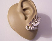 Monet Leaf Branch Clip On Earrings Silver Tone Vintage Polished Smooth Reflective Curved Curled Stem Comfort Paddles