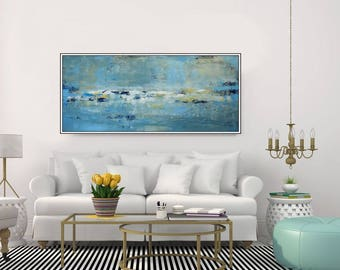 Extra Large Wall Art Abstract Painting Modern Seascape Blue Wall Art Canvas Art, Green Wall Art Ocean Coastal Art Living room, Christovart