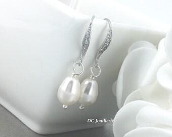 Bridesmaids Earrings Dangle Earrings Pearl Earrings Bridal Earrings Wedding Swarovski White Pearl Earrings Gift for Her Gift for Moms