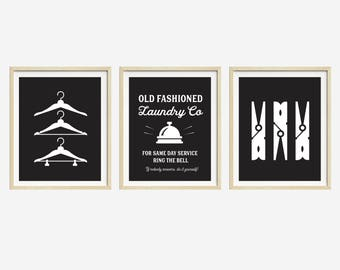 Vintage Laundry Prints, Set of 3 Prints, Black and White Laundry Art, Laundry Room Wall Art