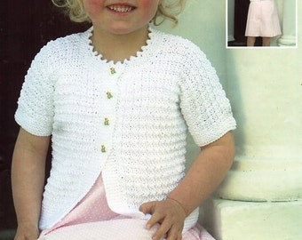Knitting Pattern For Short Sleeved Jacket : Knitting Patterngirls knit cardigansweater